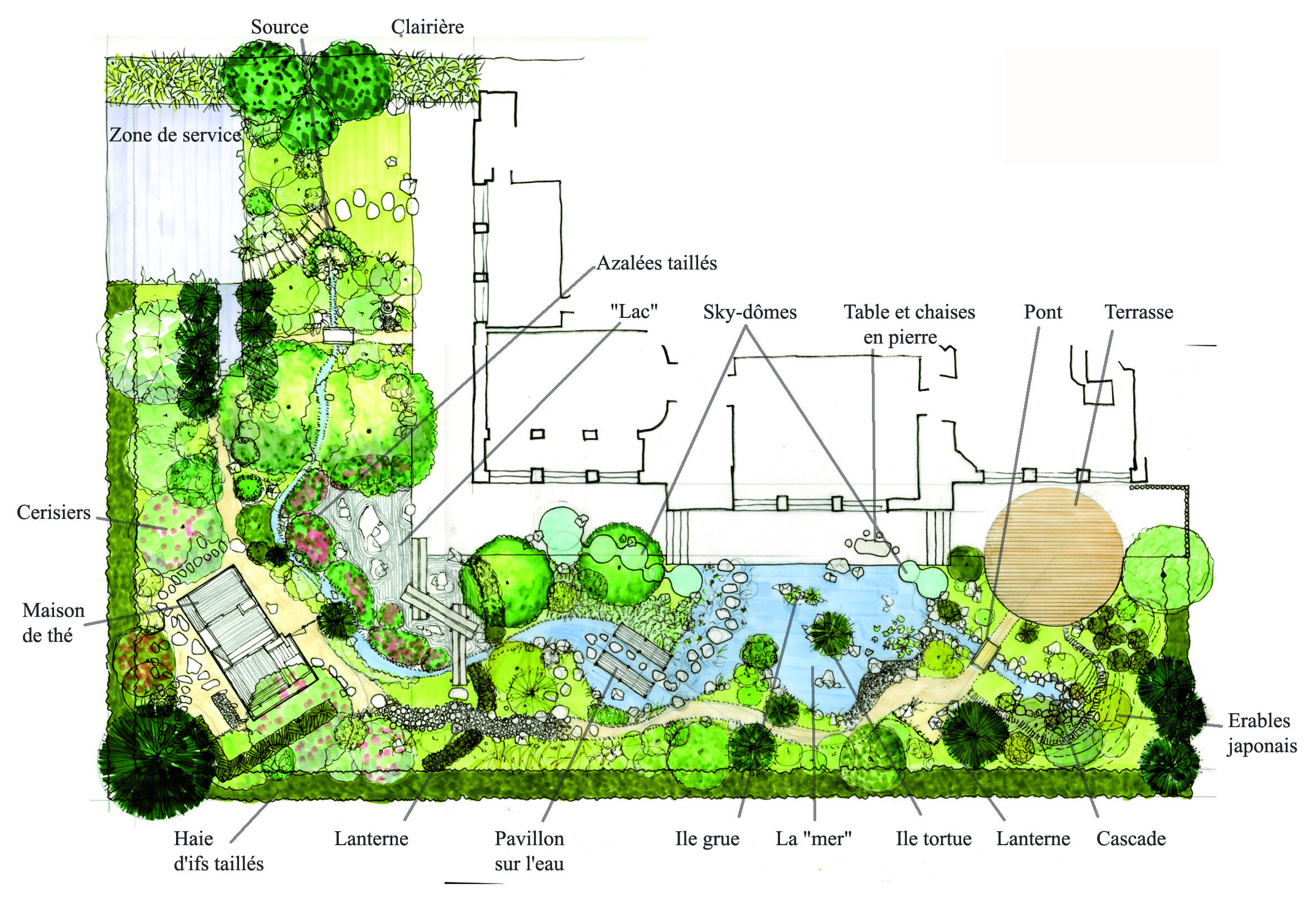 Conception d un jardin japonais un plan d taill for Plan amenagement jardin